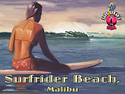 Surfer Girl Paintings - Surfer Girl Surfrider Beach by Tim Gilliland