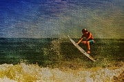 Surfing. Fishing Posters - Surfer in Oil Poster by Deborah Benoit