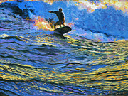 Surf Board Posters - Surfer Poster by Kenneth Young