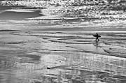 Jamie Pham - Surfer on Beacons Beach in Encinitas California in black and white.