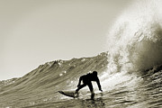 Sports Prints - Surfer Sepia Silhouette Print by Paul Topp