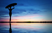 Surfer Silhouette Print by Aged Pixel