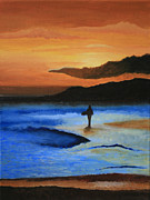 Sunset Photos - Surfer Sunset by Cassandra Lemon