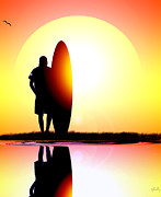 Sunset Greeting Cards Mixed Media Posters - Surferbumart #1 Poster by Vjkelly Artwork