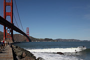 San Francisco Bay Prints - Surfers Near The San Francisco Golden Gate Bridge 5D21657 Print by Wingsdomain Art and Photography