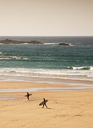 Cornwall Digital Art Prints - Surfers on beach 01 Print by Pixel Chimp