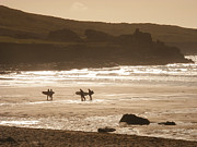 Cornwall Digital Art Prints - Surfers on beach 02 Print by Pixel Chimp