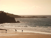 Cornwall Digital Art Prints - Surfers on beach 03 Print by Pixel Chimp