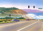 Highway Painting Posters - Surfers on PCH at Torrey Pines Poster by Mary Helmreich