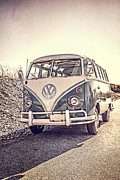 Memory Posters - Surfers Vintage VW Samba Bus at the beach Poster by Edward Fielding