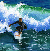 Dude Paintings - Surfin Huntington Beach Pier by Alice Leggett