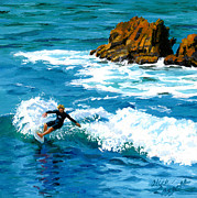 Heisler Park Paintings - Surfin Laguna Rocks by Alice Leggett