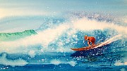 Awesome Painting Posters - Surfing at HAWAII Poster by John YATO