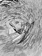 Surfing Black And White Print by RJ Aguilar