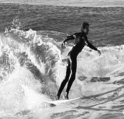 Black And White Photos Prints - Surfing  Print by Gilbert Artiaga