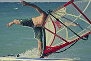 Wind Surfing Art Posters - Surfing Kanaha Maui Hawaii Poster by Sharon Mau