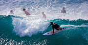 Hawaiian Photos - Surfing Maui by Adam Romanowicz