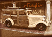 Woodie Car Digital Art - Surfing USA Woodie by John Haldane