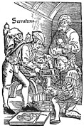 Amputation Framed Prints - Surgeon performing an amputation. Woodcut from an edition of Hans von Gersdoffs Feldtbuch der Wundartzney, Strassburg, 1540 Framed Print by Granger