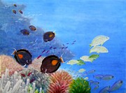 Surgeonfish Posters - Surgeonfish and Coral Poster by Mary Deal