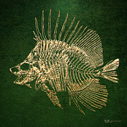 Surgeonfish Posters - Surgeonfish Skeleton in Gold on Green  Poster by Serge Averbukh