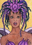 Lavender Drawings Originals - Surprise It is the Iris Fairy by Sherry Goeben