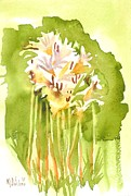 Wonderful Painting Originals - Surprise Lilies A Portrait by Kip DeVore