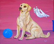 Golden Lab Paintings - Surprise by Phyllis Kaltenbach