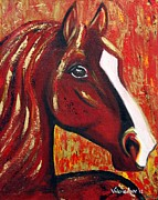 Red Horse Paintings - Surprise by Valerie Ann