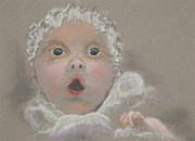 Cute Pastels Framed Prints - Surprised Baby Framed Print by Jocelyn Paine