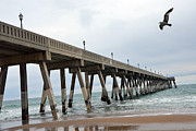 Wrightsville Prints - Surreal Beach Ocean Coastal Fishing Pier Seagull North Carolina Beach and Ocean Print by Kathy Fornal