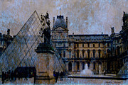 Paris In Sepia Framed Prints - Surreal Blue Brown Paris Musee du Louvre Pyramid  Framed Print by Kathy Fornal