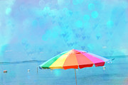 Beach Umbrella Posters - Surreal Blue Summer Beach Ocean Coastal Art - Beach Umbrella  Poster by Kathy Fornal