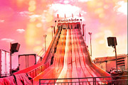 Festivals Photos - Surreal Carnival Festival Fair Hot Pink and Orange Euroslide Fair Ride by Kathy Fornal