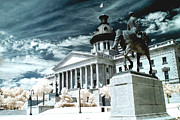 Infrared Art Prints Posters - Surreal Columbia South Carolina State House - Statue Monuments Poster by Kathy Fornal