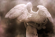 Surreal Angel Art Posters - Surreal Dreamy Angel Art Wings - Ethereal Sepia Angel Art Wings Poster by Kathy Fornal