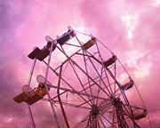 Summer Festival Art Prints - Surreal Dreamy Baby Pink Surreal Ferris Wheel  Print by Kathy Fornal