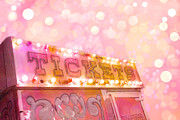 Summer Festival Art Prints - Surreal Dreamy Carnival Festival Fair Pink Ticket Booth - Whimsical Fantasy Carnival Art Print by Kathy Fornal