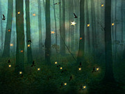 Green Forest Prints - Surreal Dreamy Fantasy Starlit Woodlands Nature Print by Kathy Fornal