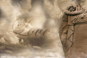 Surreal Angel Art Framed Prints - Surreal Dreamy Love Ethereal Sad Angel Cemetery Statue Sepia Clouds - Lost Love Framed Print by Kathy Fornal