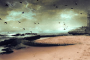 Surreal Fantasy Nature Scene With Ravens Prints - Surreal Dreamy Ocean Beach Birds Sky Nature Print by Kathy Fornal