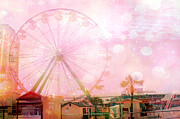 Ferris Wheels Posters - Surreal Dreamy Pink Myrtle Beach Ferris Wheel Poster by Kathy Fornal