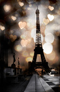 Surreal Eiffel Tower Art Photos - Surreal Dreamy Romantic Paris Eiffel Tower Bokeh Hearts- Fantasy Nights by Kathy Fornal