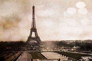 Framed Photos Prints - Surreal Dreamy Sepia Paris Eiffel Tower Landscape Print by Kathy Fornal