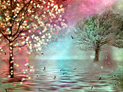 Nature Cards Photos - Surreal Dreamy Twinkling Fantasy Sparkling Nature Trees by Kathy Fornal