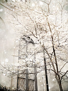 Snow Prints Posters - Surreal Dreamy Winter White Church Trees Poster by Kathy Fornal