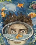 Fish Underwater Paintings - Surreal Encounter by Alfred Ng