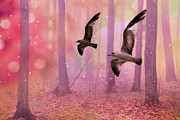 Fantasy Art Posters - Surreal Fairytale Fantasy Nature Bird Woodland Landscape Poster by Kathy Fornal