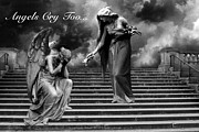 Black White Angels Art Prints - Surreal Fantasy Angel Art Black White - Angels Cry  Print by Kathy Fornal