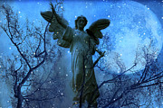 Blue Angel Photos Posters - Surreal Fantasy Angel Nature Raven Blue Moon Poster by Kathy Fornal